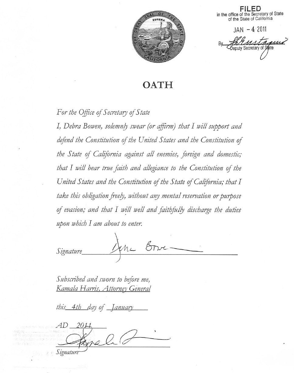 Oath of Office California SOS Bowen   Scanned Retina – A Resource ...