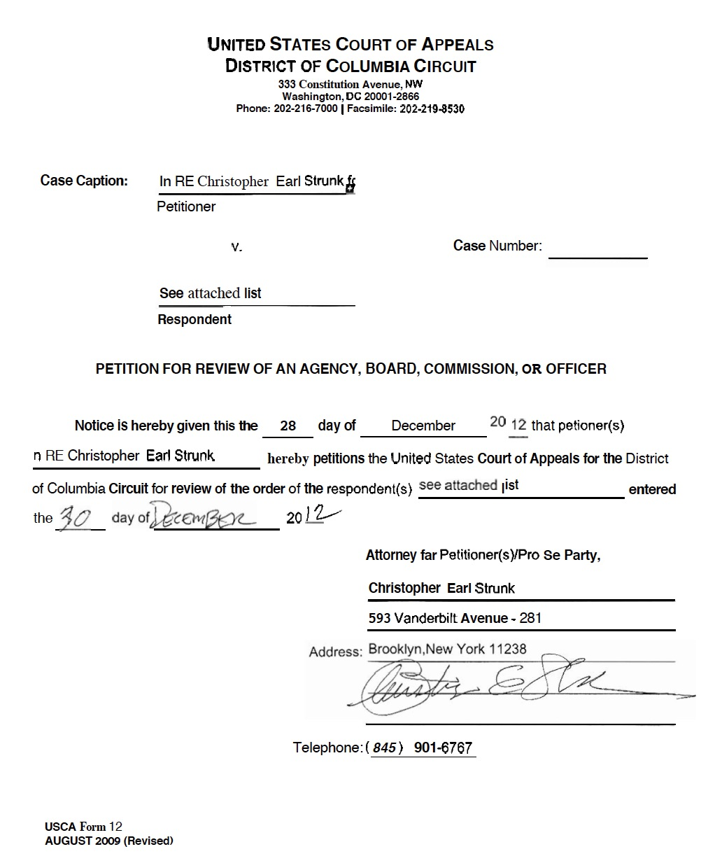 PETITION FOR A WRIT OF MANDAMUS – Christopher-Earl: Strunk ...