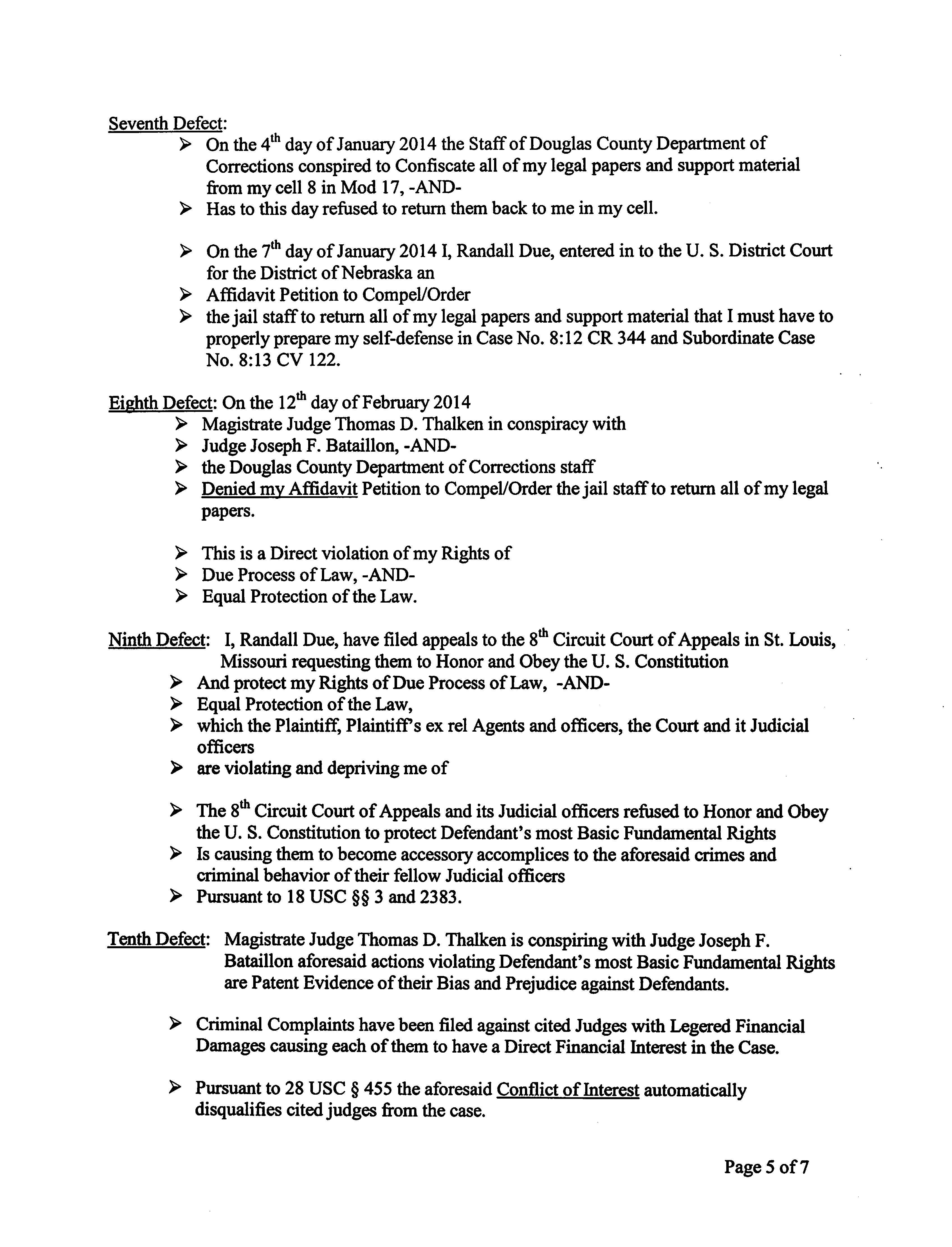 P U B L I C N O T I C E — Randy Due presents affidavit of