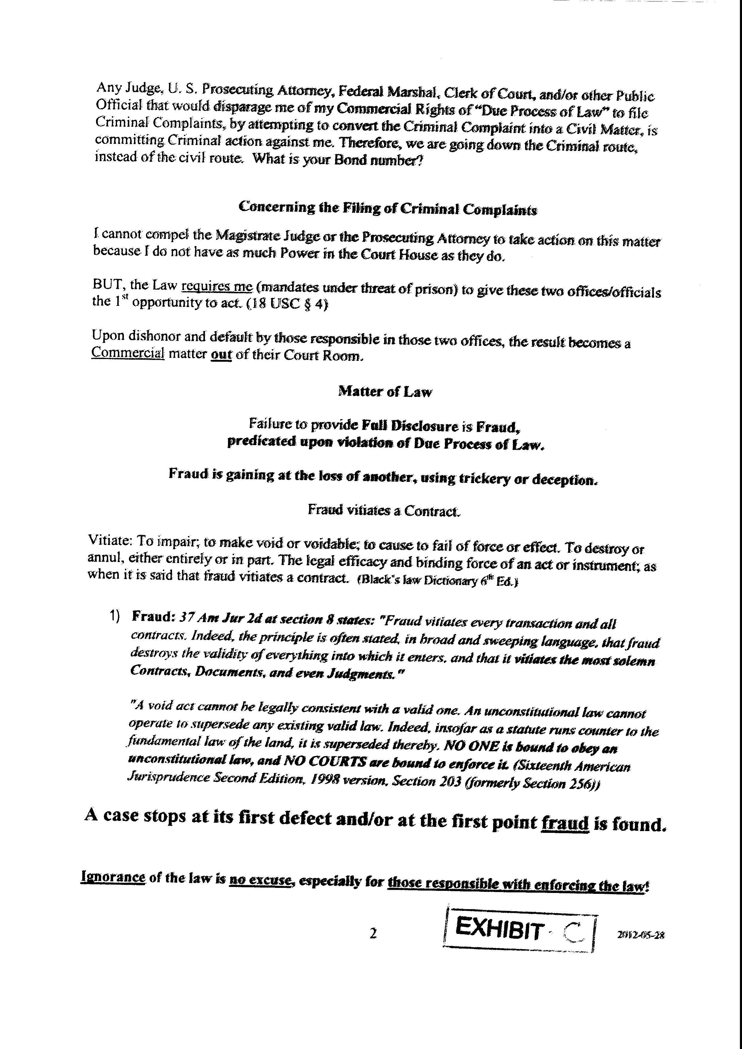 Public Notice— Randy Due – Criminal Complaint – #3 | Scanned Retina