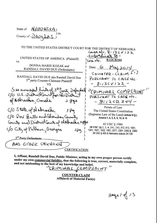 Env M 20 rec 5-15-2014 Criminal Counter Claim Complaint caases 8 13 CV 122 and 8 12 CR 344_Page_01