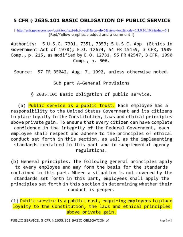 PUBLIC SERVICE,  5 CFR § 2635.101 BASIC OBLIGATION of_Page_1