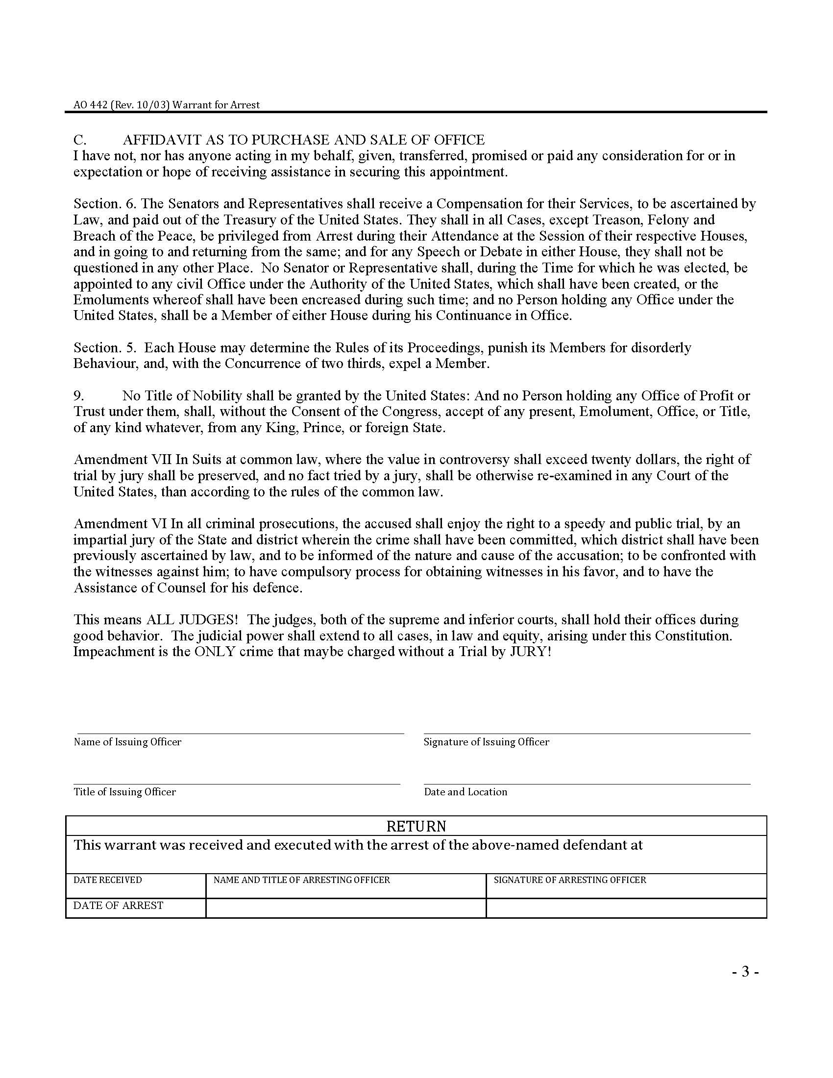 Arrest warrant template 3 foreign arrest warrant template warrant for arrest form ao 422 public officer scanned retina thecheapjerseys Images