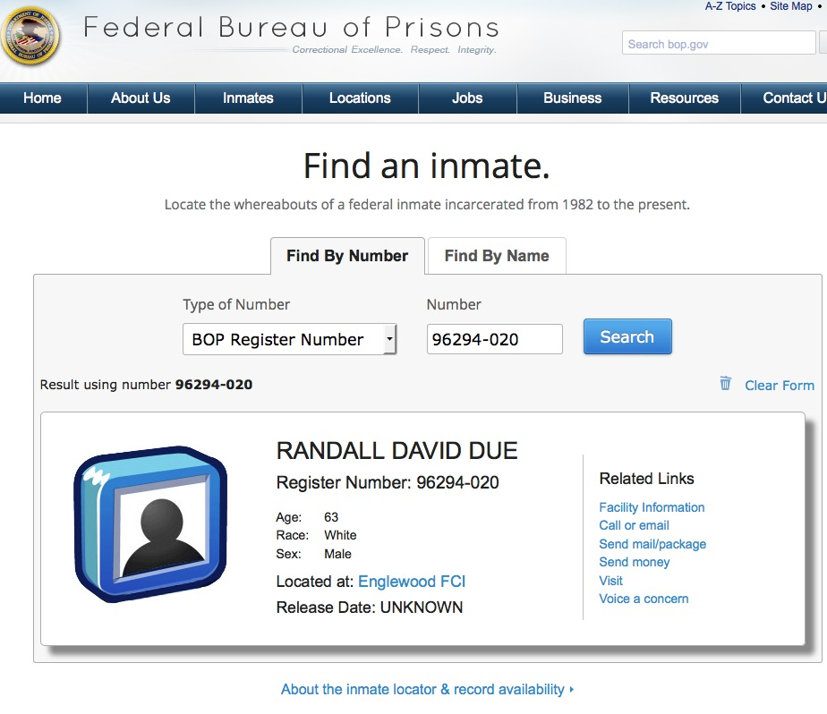 political prisoner randy due  u2013 moved to fci englewood  co