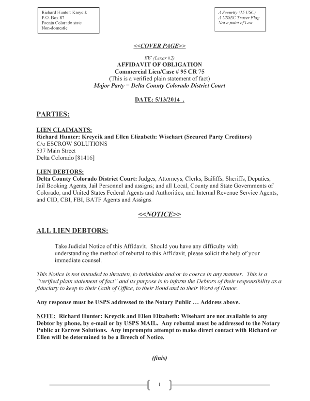 Affidavit (Commercial Lien) (EW Lexar #2) (Delta Court) CP_Page_01