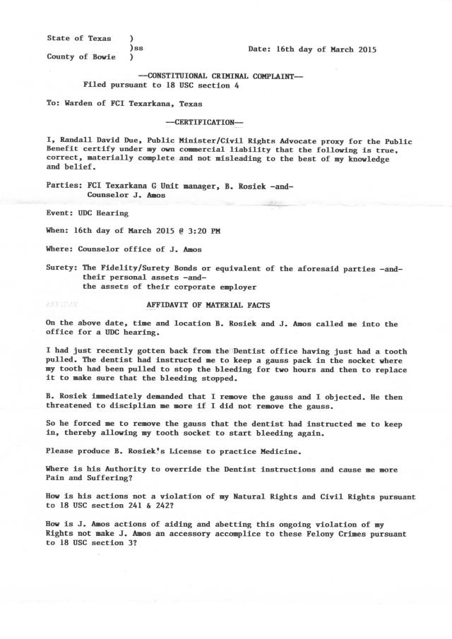 Env. TXAR5-2015, rec. 3-20-2015, Criminal Complaint against B. Rosiek and J. Amos_Page_1