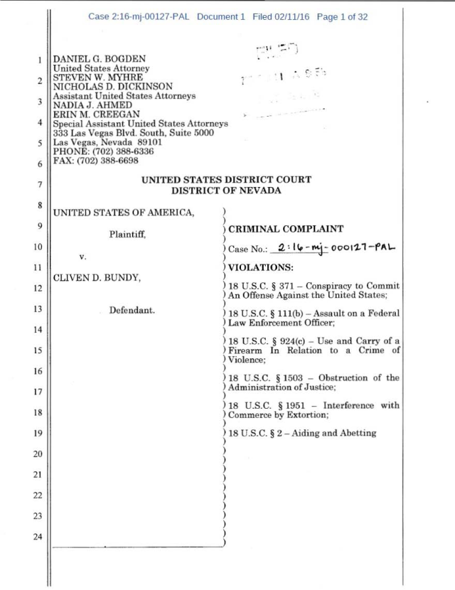 US Corp vs Cliven Bundy Complaint 02-11-2016_Page_01