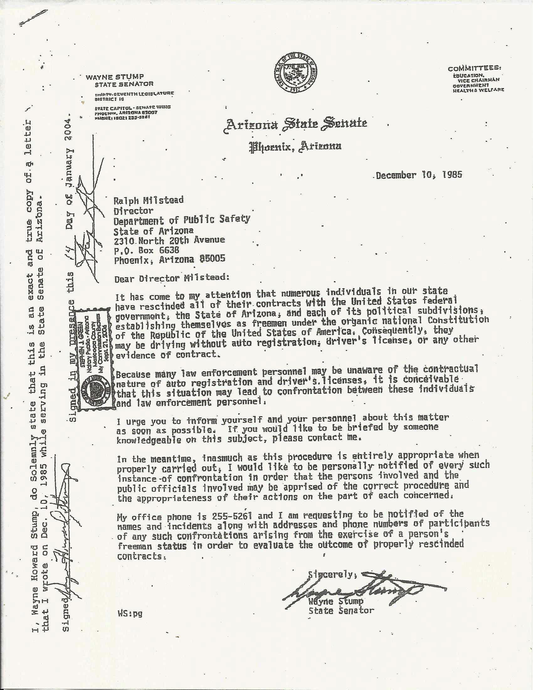 How To Address A Recommendation Letter Senatorwaynestumpletter  Letter_to_senator_menendezg