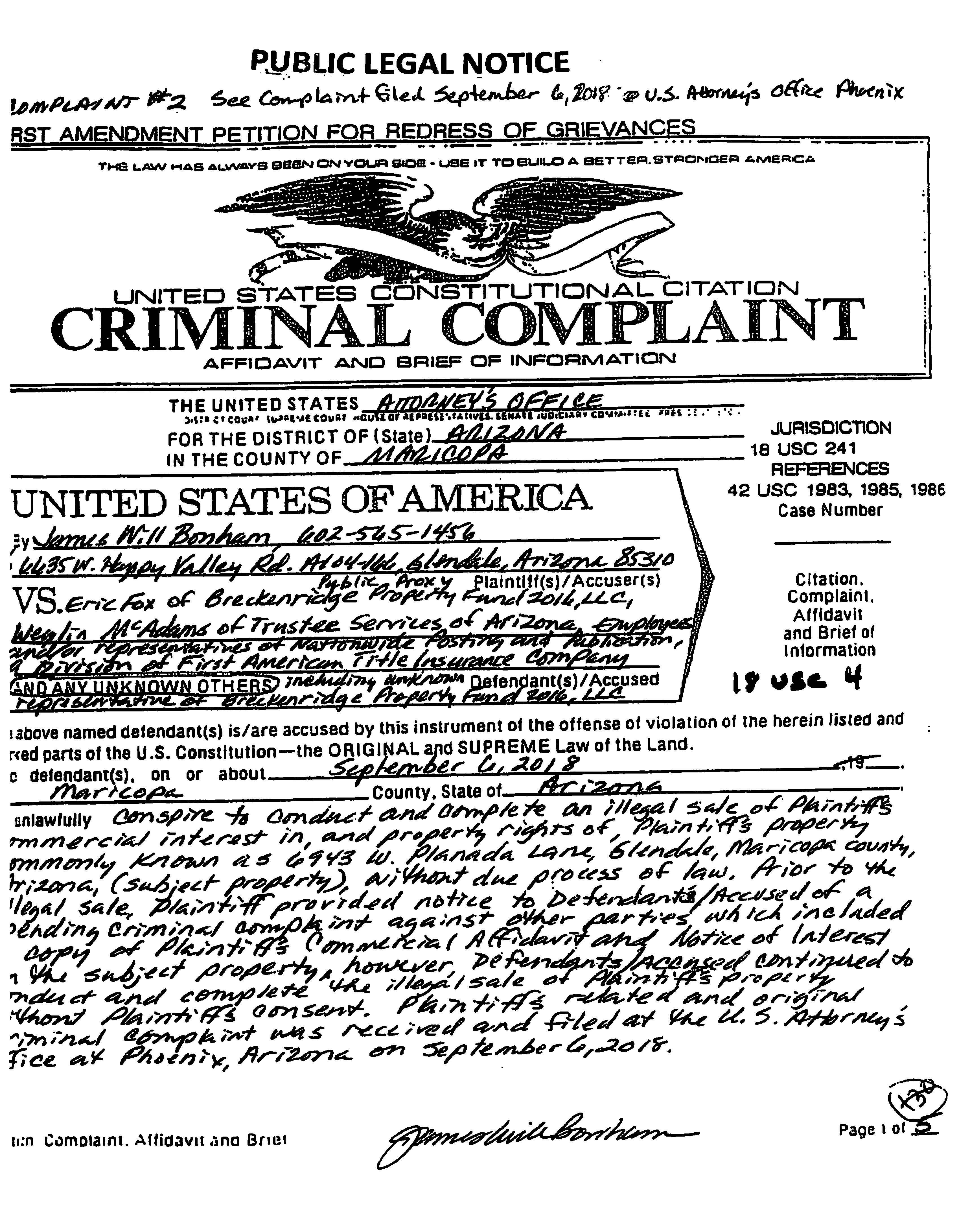 PUBLIC LEGAL NOTICE *** – CRIMINAL COMPLAINT #2 FILED COPY | Scanned